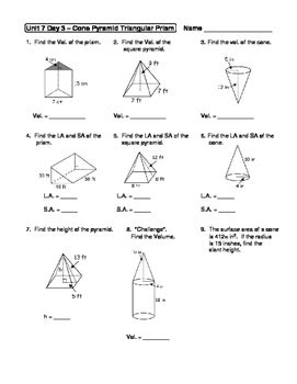 Surface Area Of Pyramids And Cones Worksheet Answers