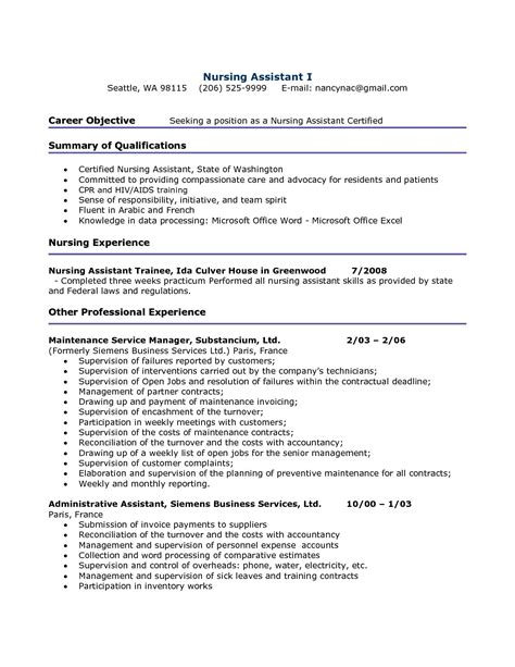 Resume Sles For A Cna Position Career Objective Seeking Position As A Nursing Assistant Certified Resume Exle With Exp