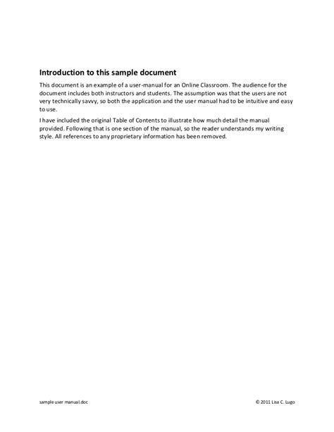 user manual document template sle user manual