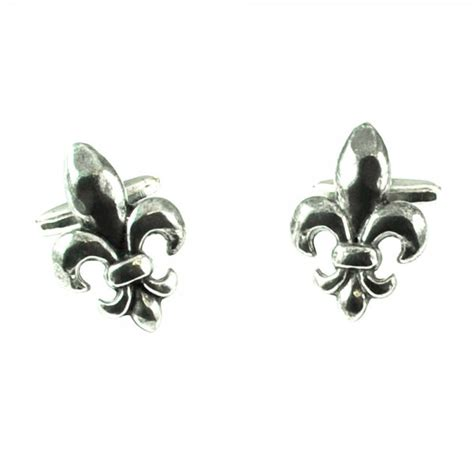 Handcrafted Pewter - handcrafted pewter fleur de lys cufflinks from ties planet uk