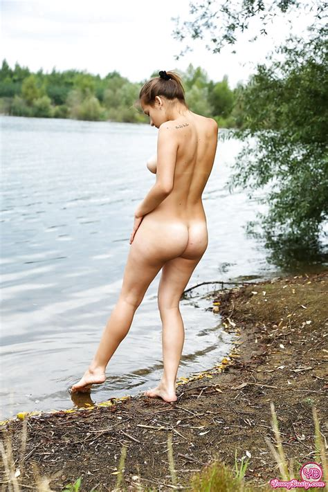 Busty Teen Amateur Adelle Stripping Naked In Woods For
