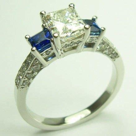 three engagement ring princess cut sapphire