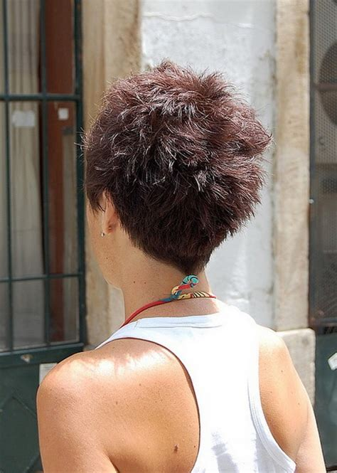 wiew of back of the head with asymetrical haircut back view of pixie haircut