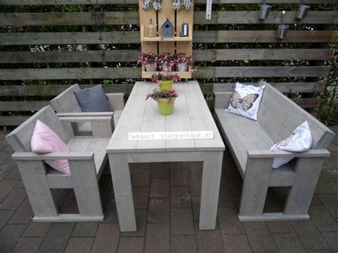 eettafel met stoelen en bankje steigerhouten eettafel met bank en 2 stoelen