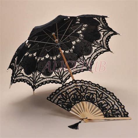 Black Lace Umbrella Fan Set, Handmade Black Umbrella