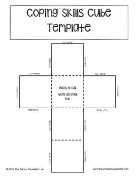 Coping Card Template by Coping Skills Cube Template By The School Counselor Tpt