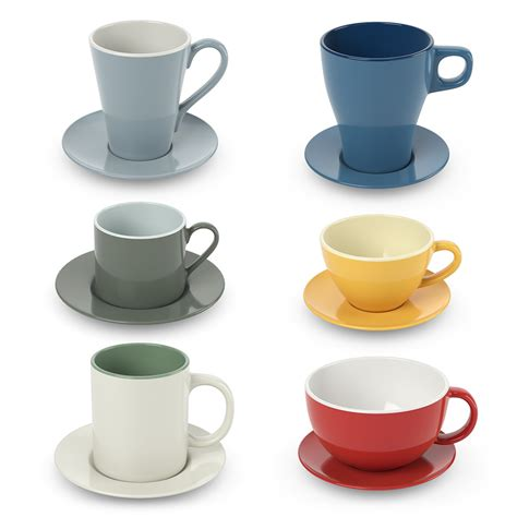 tea and coffee mugs cups with tea and coffee 3d model