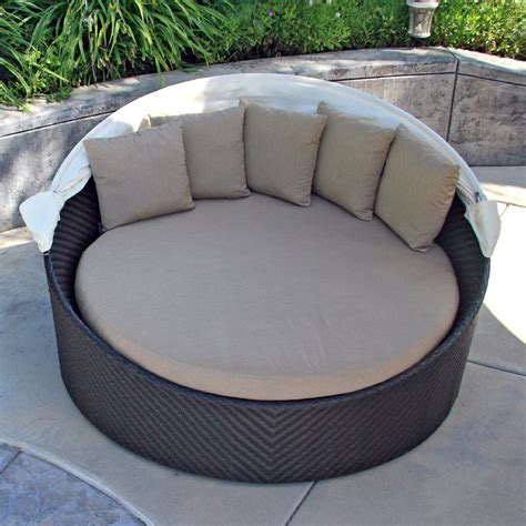 outdoor beds modern round resin wicker outdoor daybed with detachable