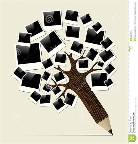 Retro Instant Photo Concept Pencil Tree Stock Vector Image 32017678 Vintage Family Frames Tree Stock Image Image 32018791