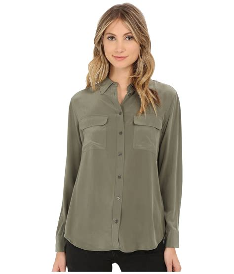 Olive Blouse Jo lyst equipment slim signature blouse in green