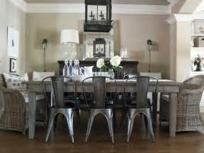 dining room metal dining room cottage dining room with metal chairs distressed wood table hgtv