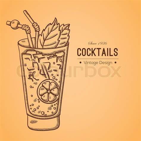 vintage cocktail illustration vintage illustration of cocktail easily editable vector