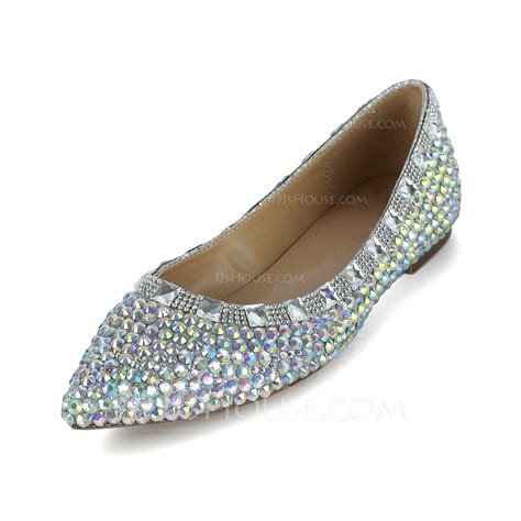 jj house shoes patent leather flat heel closed toe with rhinestone shoes 086038299 jjshouse