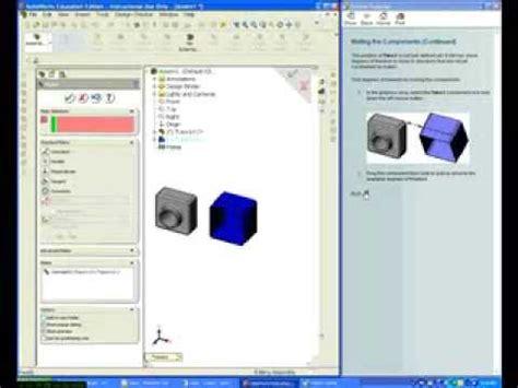 solidworks tutorial lesson 2 assemblies solidworks tutorials lesson 2 assemblies part 2 youtube
