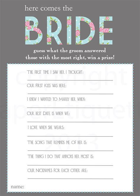 Printable Bridal Shower by Printable Bridal Shower With Answers Search