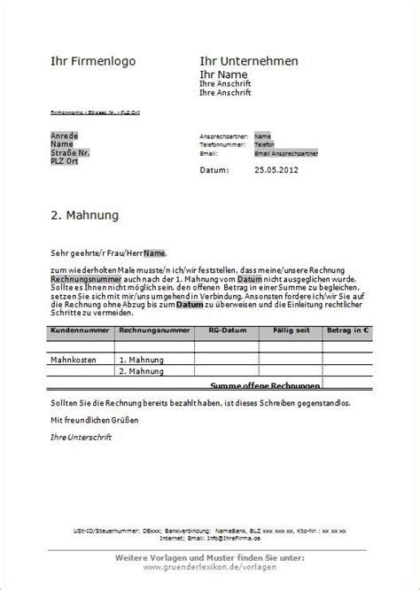 Mahnung Mit Frist Muster 2 Mahnung Vorlagen Und Muster Vom Gr 252 Nderlexikon