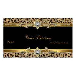 leopard business cards gold leopard black sided standard