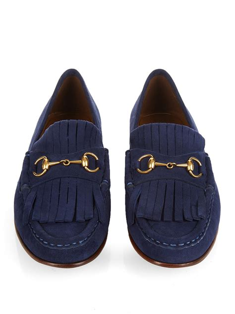 suede gucci loafers lyst gucci horsebit suede loafers in blue