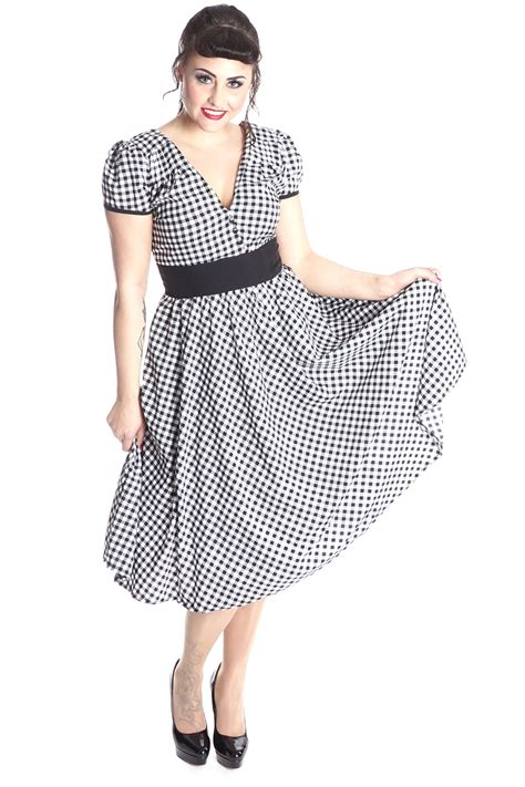 vintage swing kleid 50er rockabilly gingham retro karo swing kleid