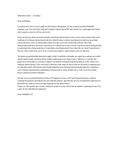 Motivation Letter Exle For Bachelor Erasmus Mundus Masters Scholarship