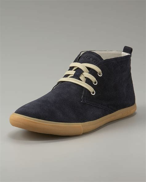 prada suede chukka boot in blue for navy lyst