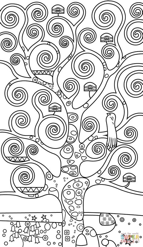 coloring page tree of life tree of life by gustav klimt super coloring