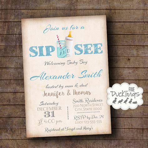Invitation Letter New Born Baby Sip And See Invitation Welcome Baby Invite Baby Boy