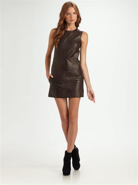 Mini Leather Dress lyst vince lambskin leather mini dress in brown