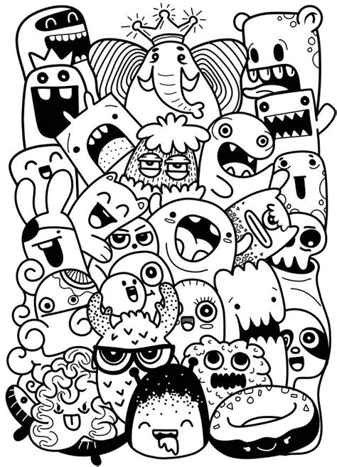 vector illustration  doodle cute monster background