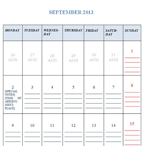 Calendar September 2013 September 2013 Calendar Template Sleprintable