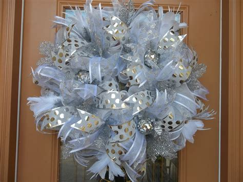 deco mesh winter white and silver holiday wreath by decodzigns