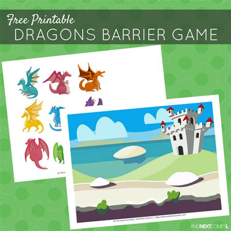 printable barrier games free printable dragons barrier game for speech therapy