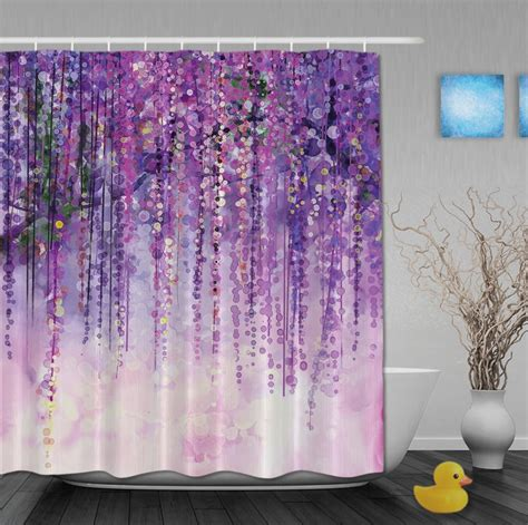 shower curtains designer fabric aliexpress com buy custom watercolor drawing purple