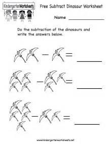 kindergarten subtract dinosaur worksheet printable