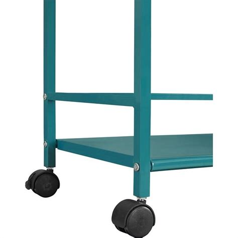 Three Shelf Rolling Cart by 3 Shelf Metal Rolling Utility Cart In Teal 7741396pcom