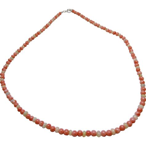 pink coral bead necklace salmon pink coral and welo opal bead necklace from
