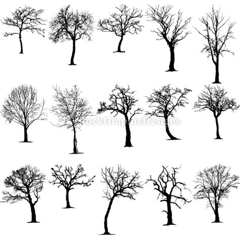 tree silhouette vector amp photoshop brushes stock
