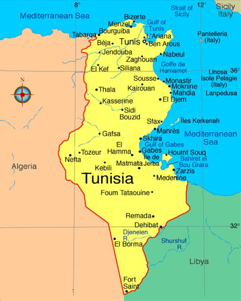 where is tunisia in the world map tunisia map hammamet