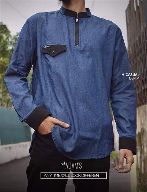 Baju Pria Muslim Modern Warna Merah Bahan Denim Premium Model 17 best images about adam s baju muslim pria on models polos and casual