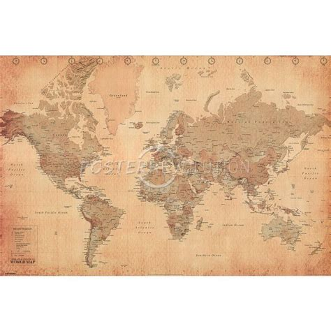 vintage world map image world map vintage style poster print