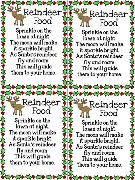 printable reindeer food poems reindeer food trusper