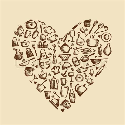 I love cooking! Kitchen utensils sketch, heart shape   Stock Vector   Colourbox
