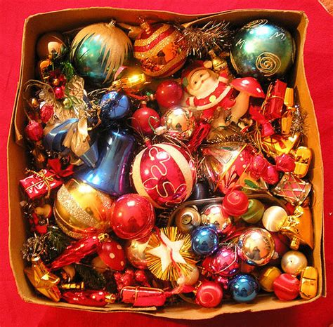 box of assorted christmas decorations pictures photos