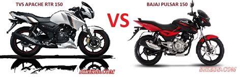 TVS Apache RTR 150 VS Bajaj Pulsar 150 : Comparison Review