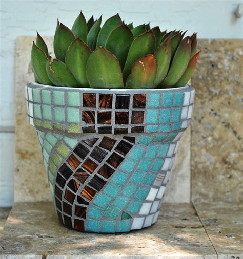 tile mosaic planter pot succulents 4 flower by