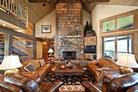 carolina mountain homes rustic living room