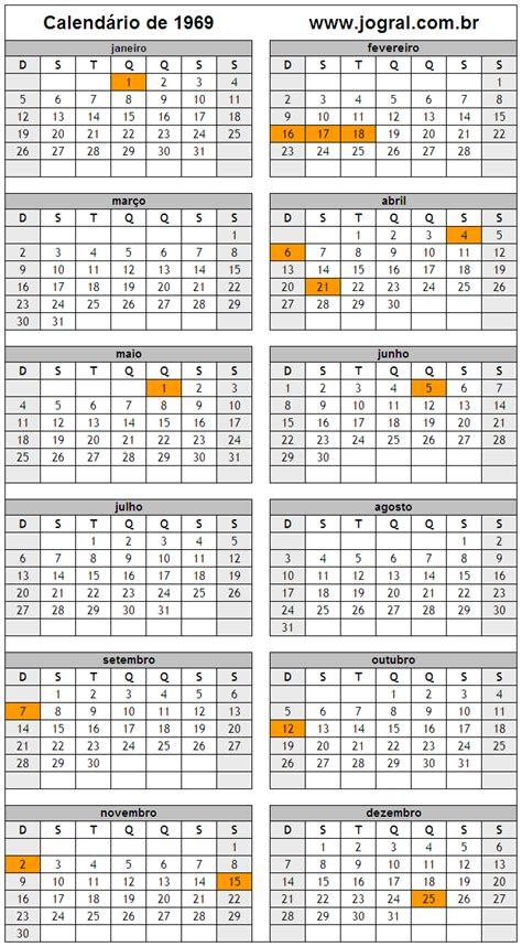 Calendario De 1969 Calend 225 Ano 1969 Para Imprimir Em Formato Pdf E Imagem