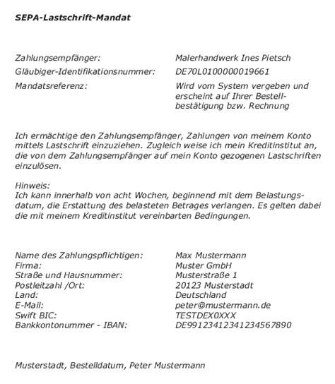 Muster Rechnung Sepa allgemeine gesch 228 ftsbedingungen malerhandwerk ines