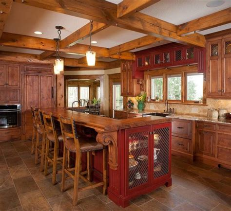 15 reclaimed wood kitchen island ideas rilane 15 rustic kitchen designs with exposed roof beams rilane