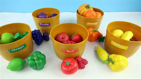 sort colors learn colors by sorting fruits and vegetables from the